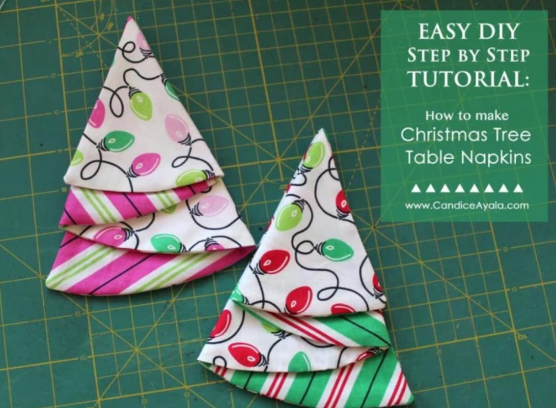 folded christmas tree napkins