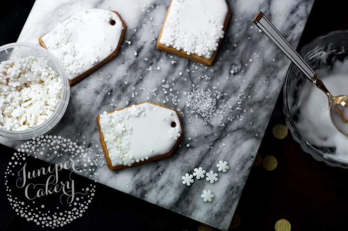 add sprinkles to gift tag cookie