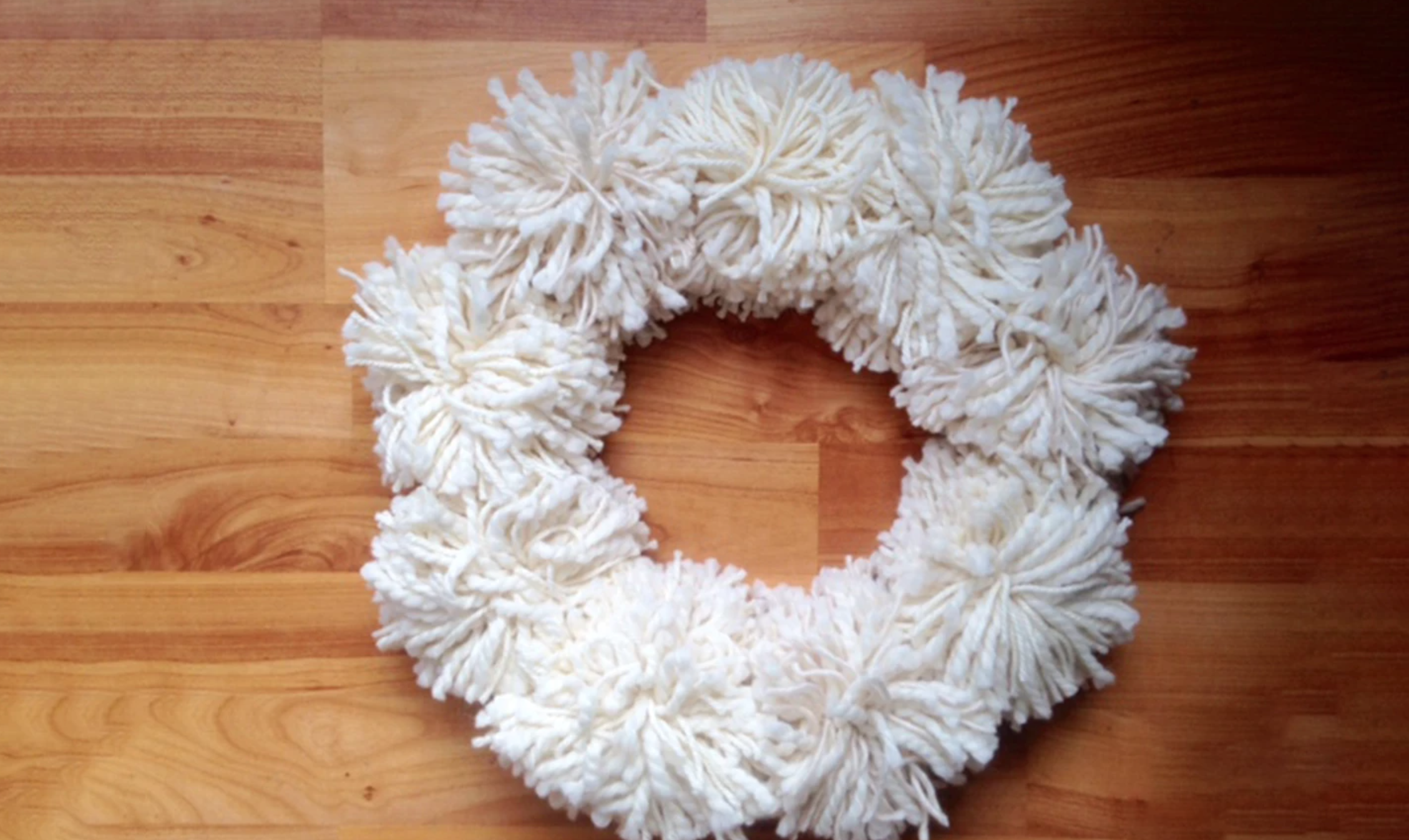 white yarn wreath