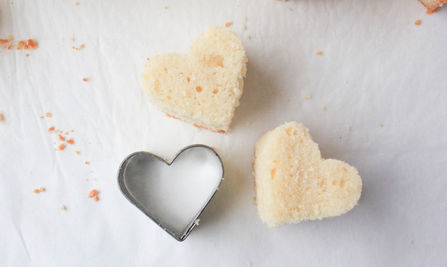 heart-shaped cake piece