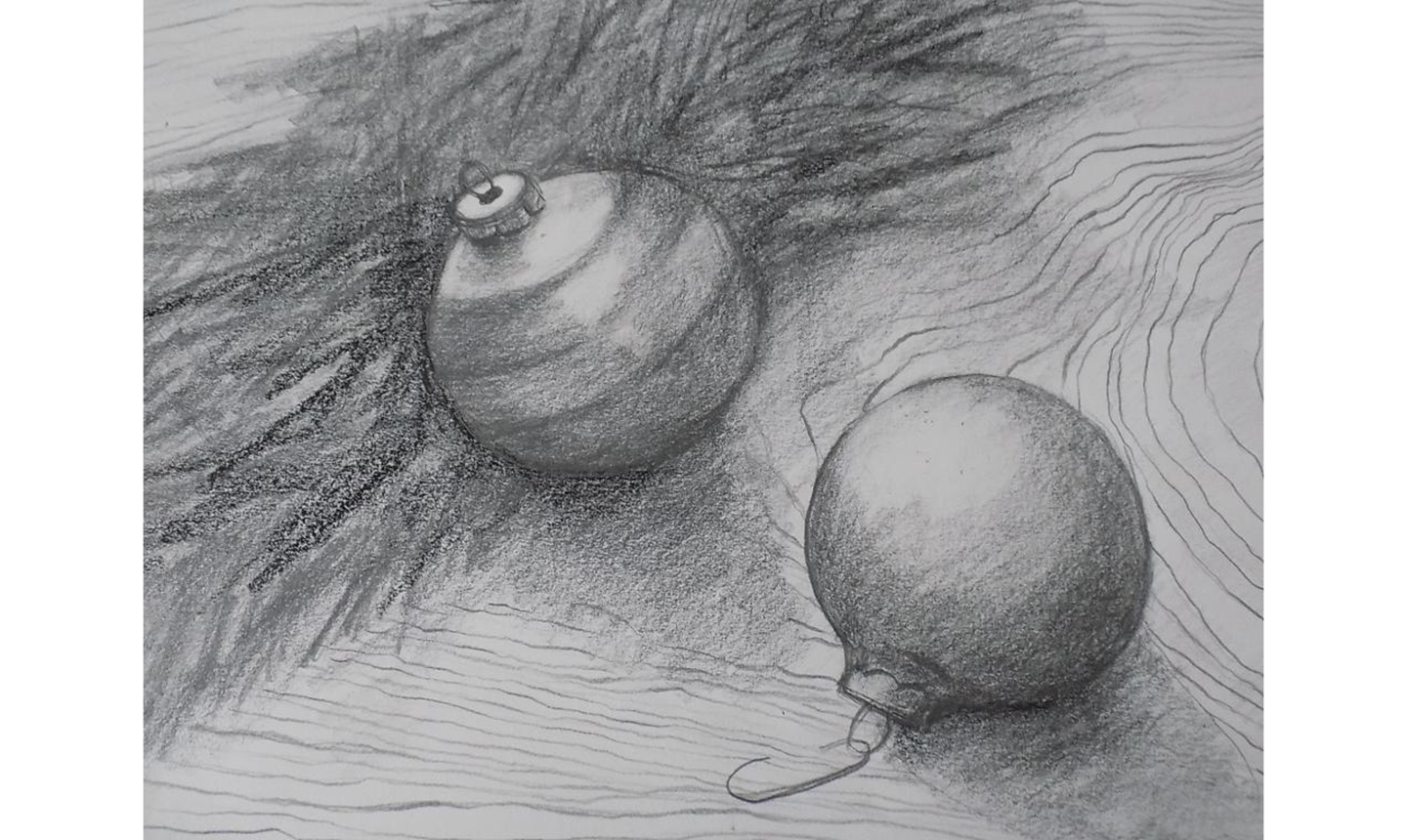 charcoal drawing of christmas ornaments