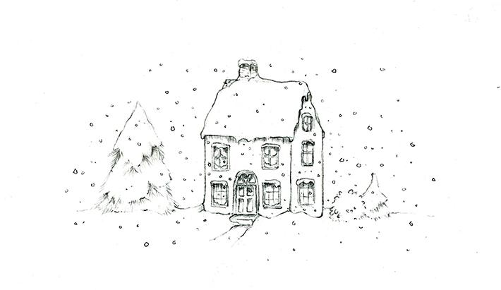 snowy house scene