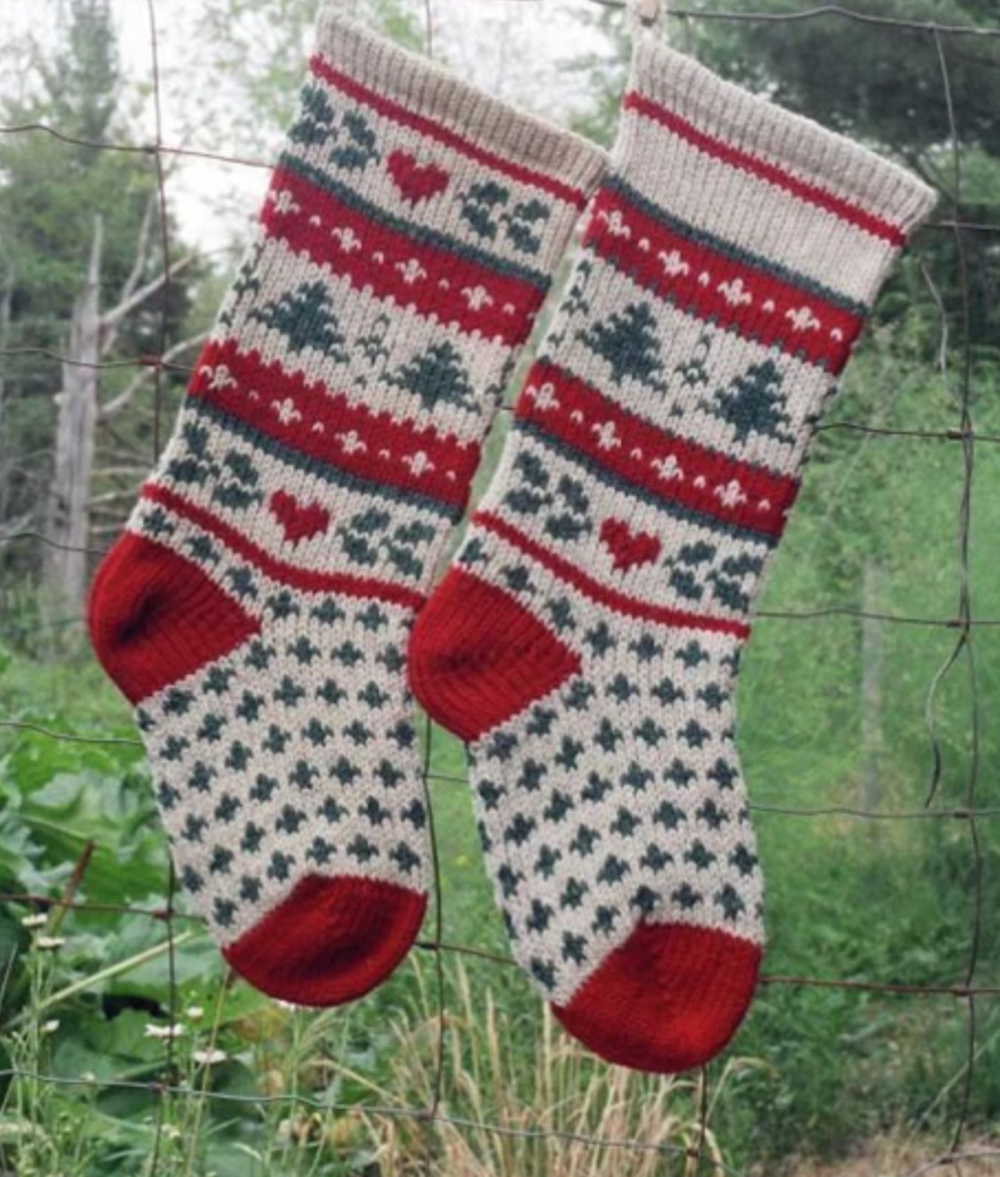 knit evergreen stocking