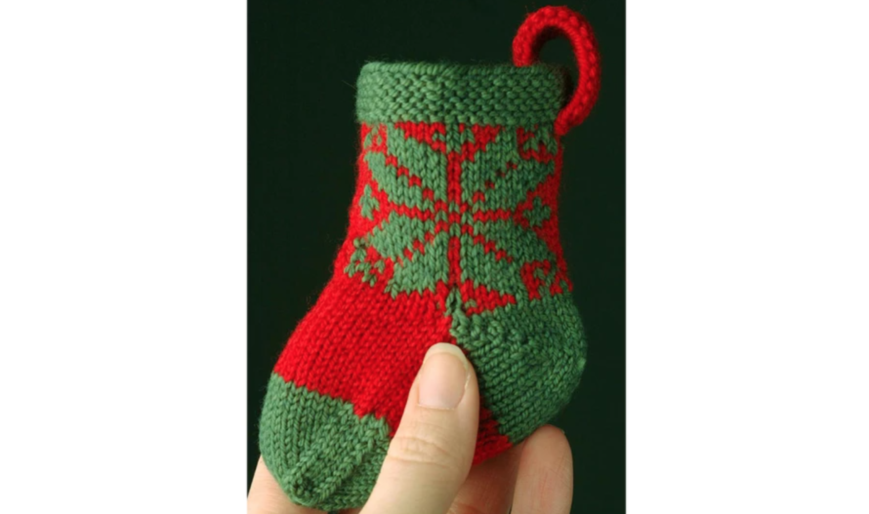 tiny green and red christmas stocking