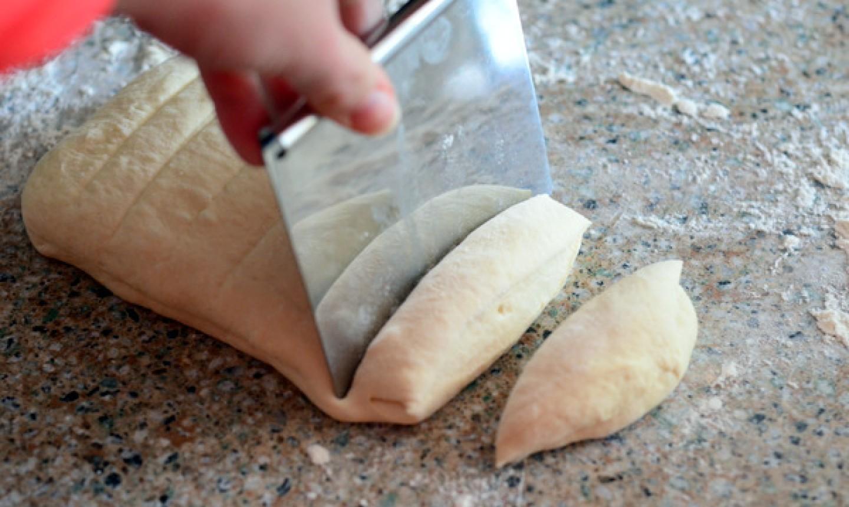 cutting dough for garlic knots
