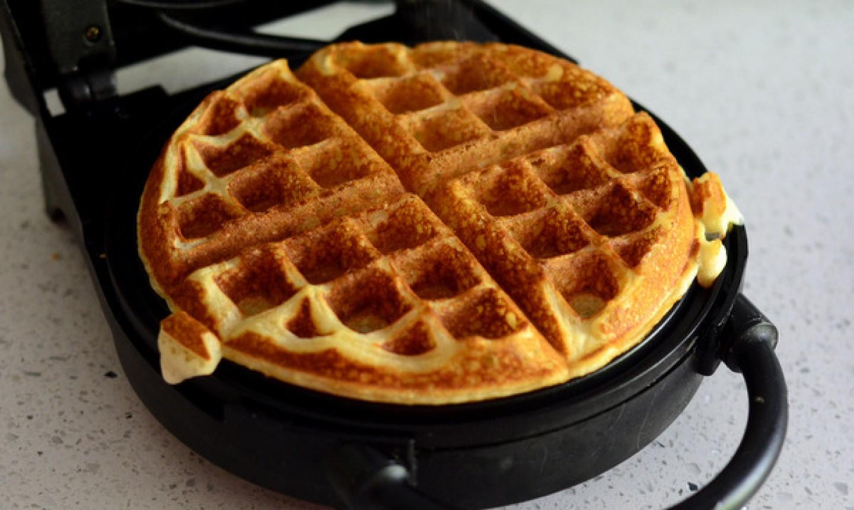 fresh waffle in iron