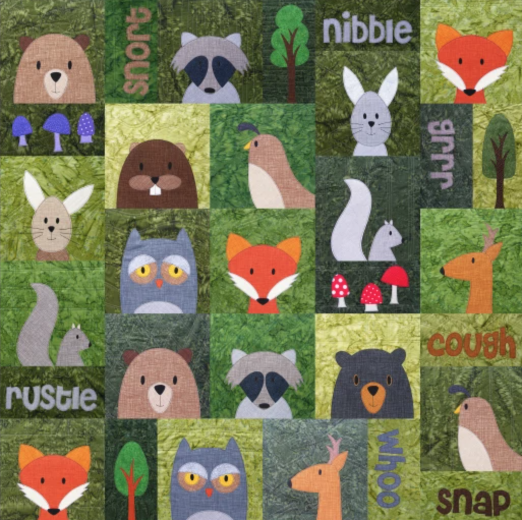 applique woodland animal quilt
