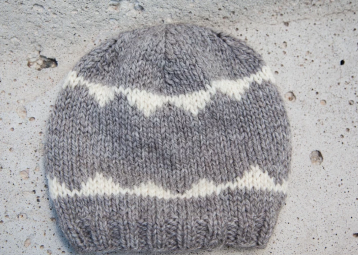 gray knit hat with white stripes