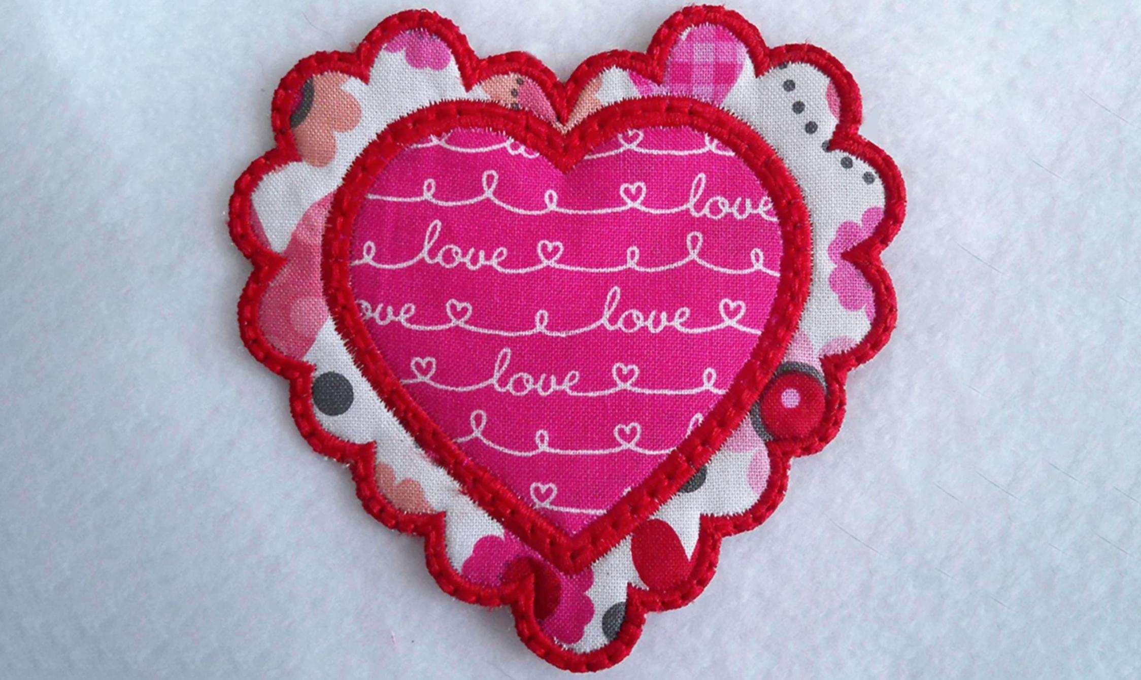 valentine heart applique