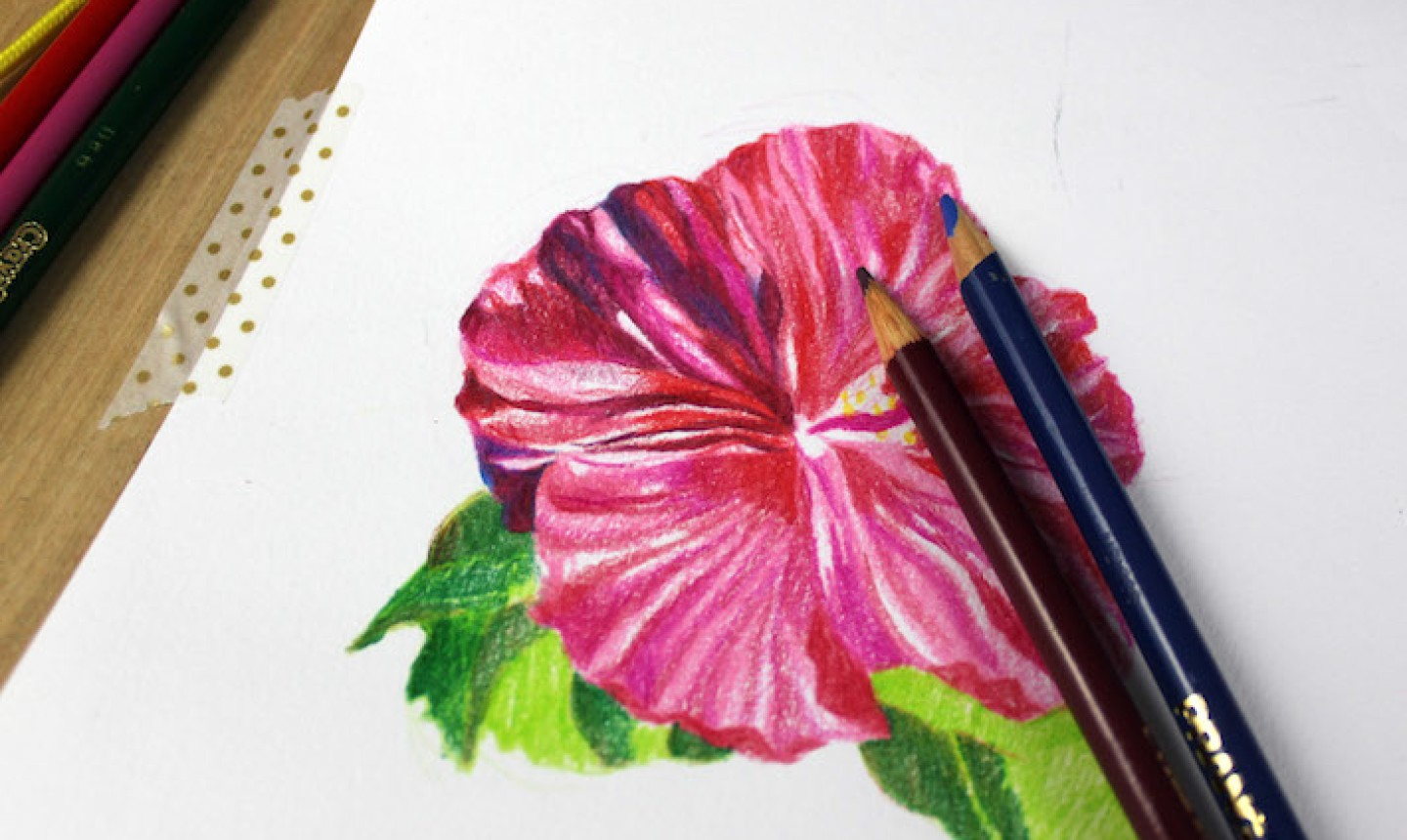 shading colored pencil flower