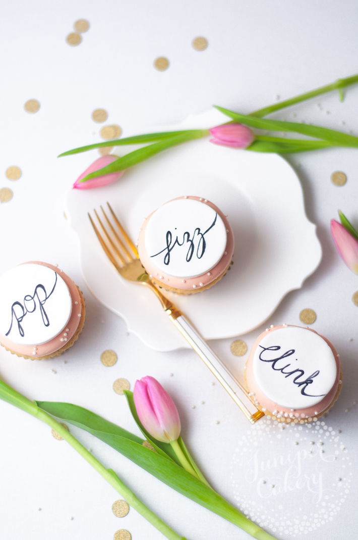 hand painted calligraphy cupcakes