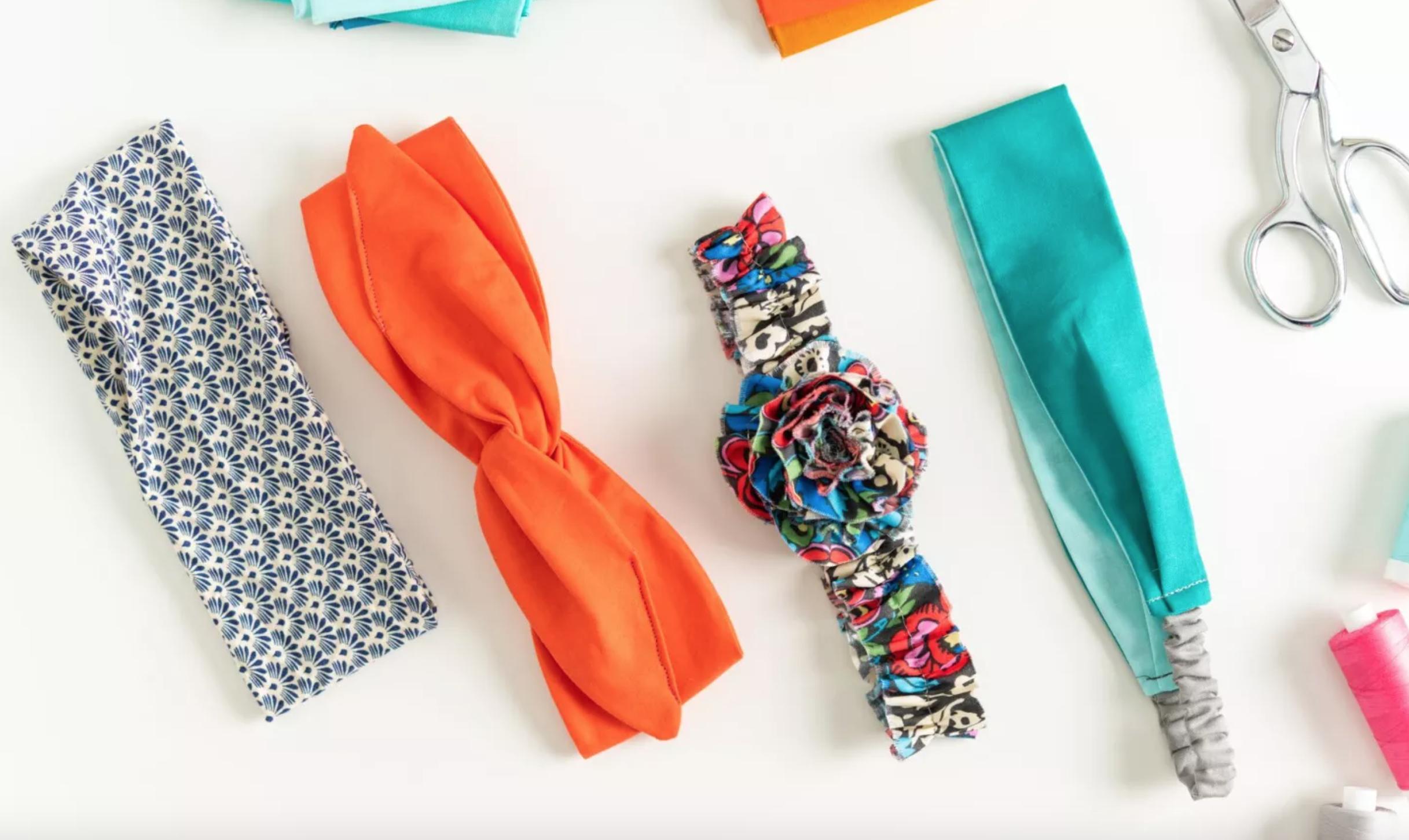 row of sewn headbands