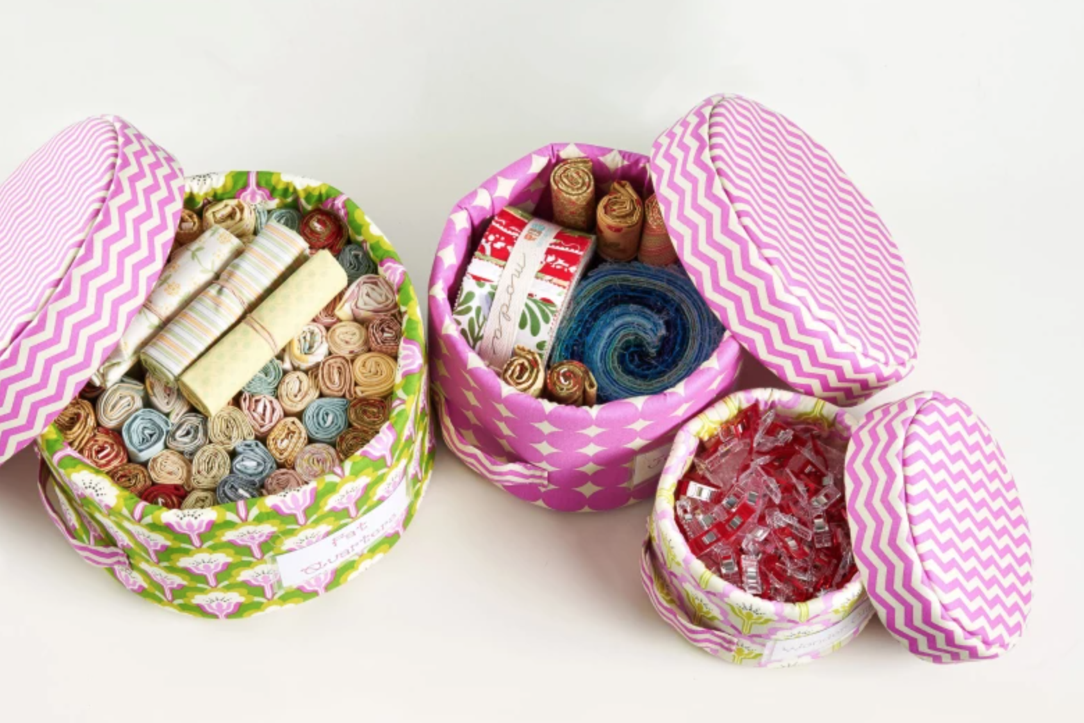 sewn baskets with lids