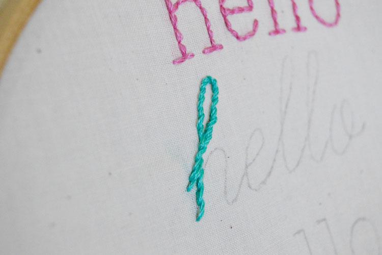 Stem stitched letter h