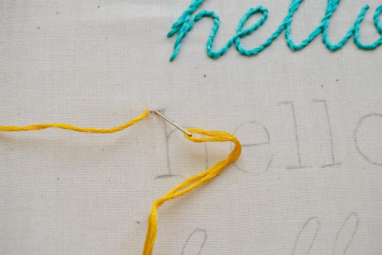 Yellow thread in needle over word hello