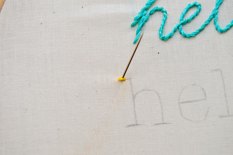 Yellow thread in needle coming through