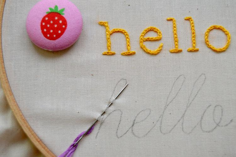 Running stitch through letter h