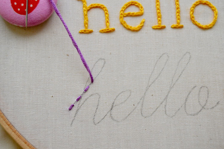 Running stitch coming through letter h