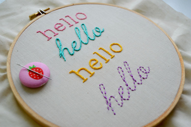Colorful hello embroidered words