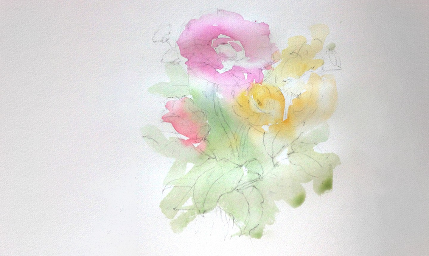 watercolor bouquet first wash