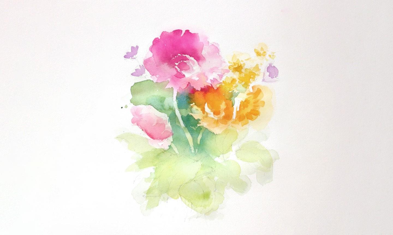 watercolor bouquet midtones
