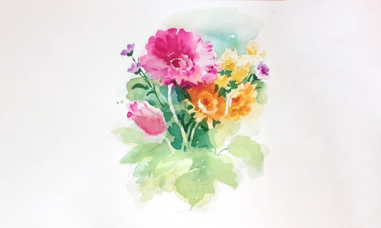 creating depth watercolor bouquet