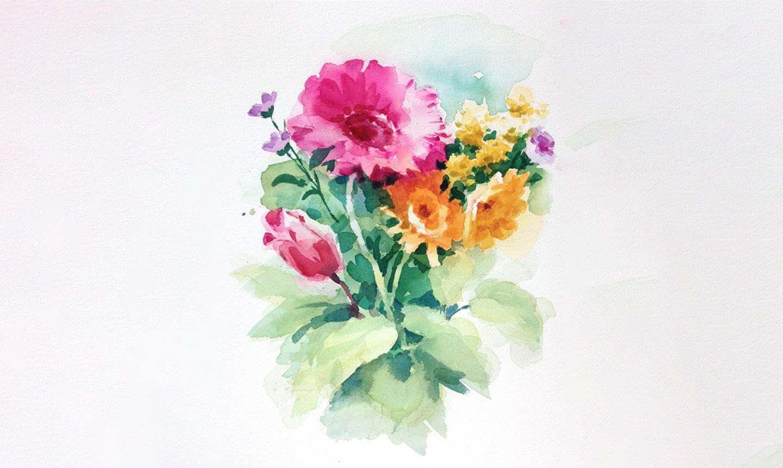 final details of watercolor bouquet