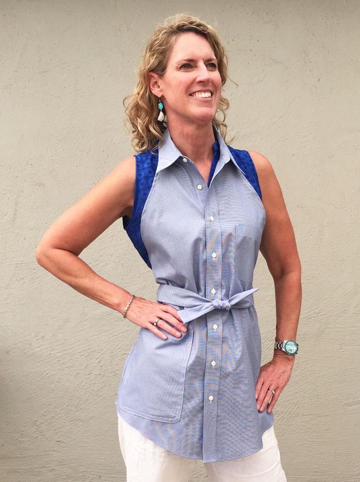 woman wearing diy shirt apron
