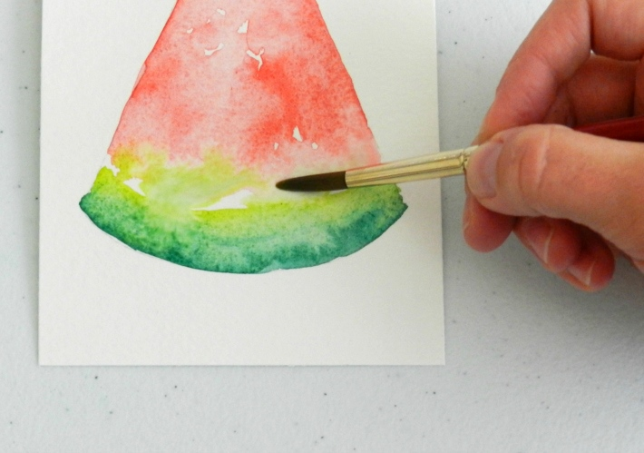 painting watercolor watermelon rind
