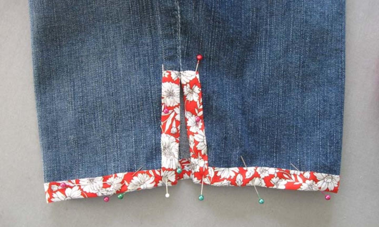 pinned bias tape on diy denim shorts