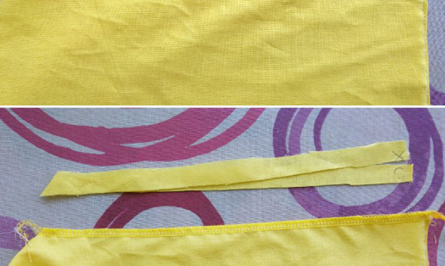 Cut slices of fabric