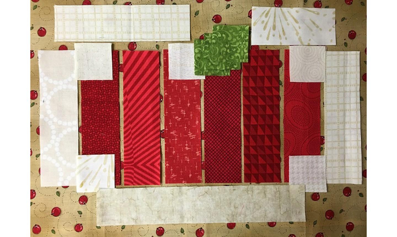 apple mug rug fabric strips