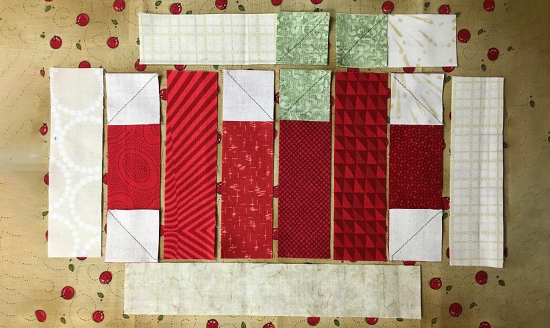 apple mug rug sewn squares