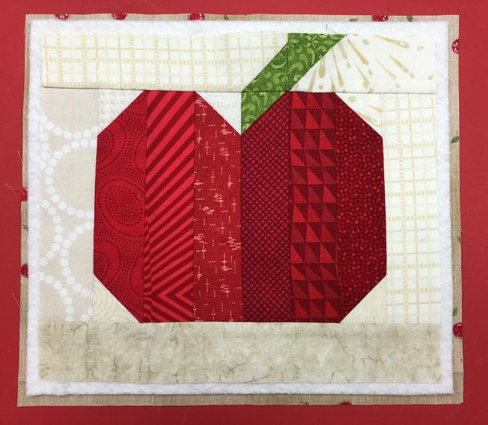 quilt top apple mug rug