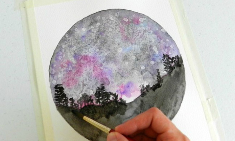 painting ground in night sky painting