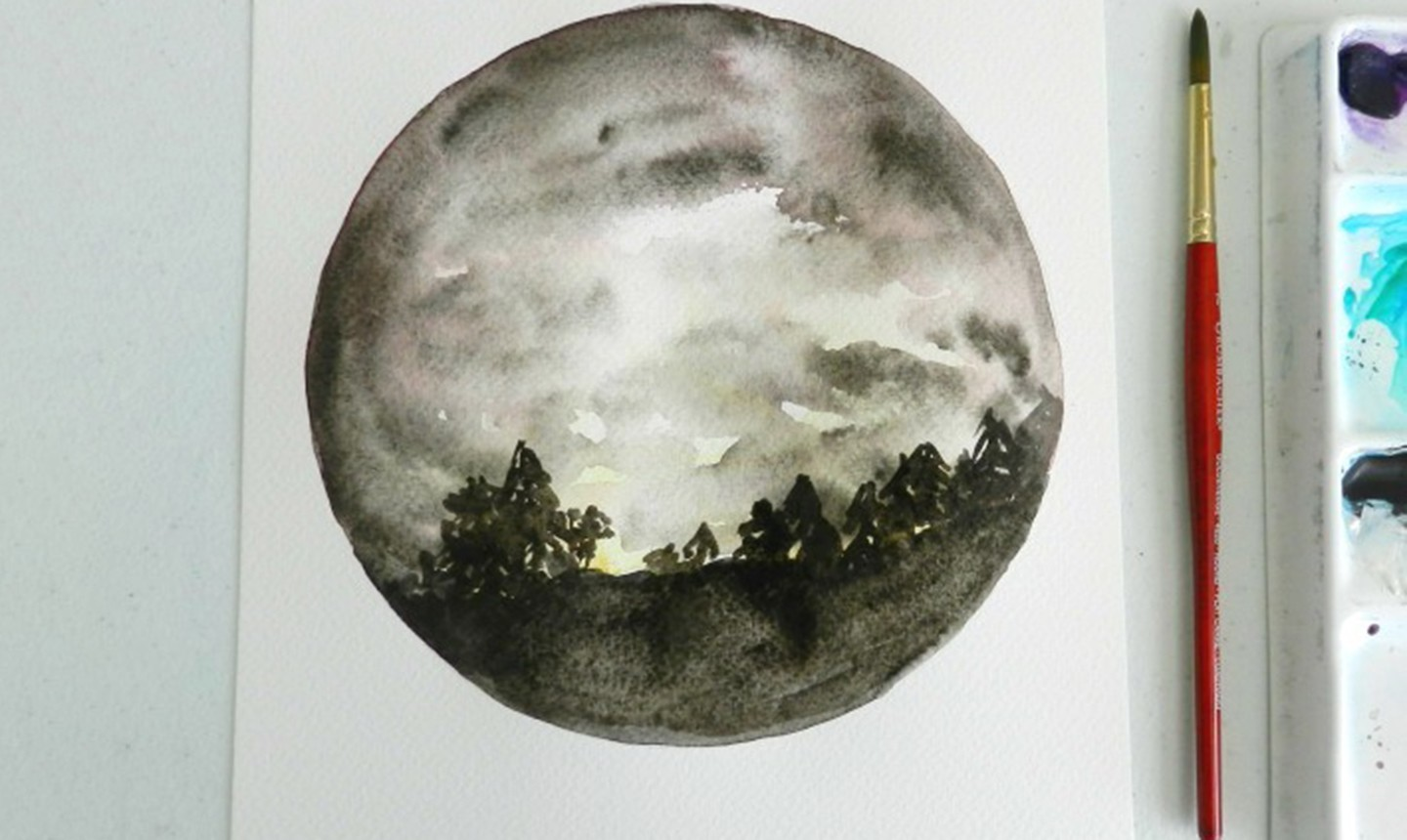cloudy night sky watercolor painting