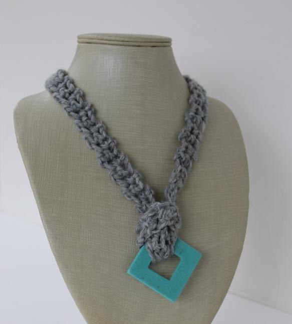 gray crochet necklace