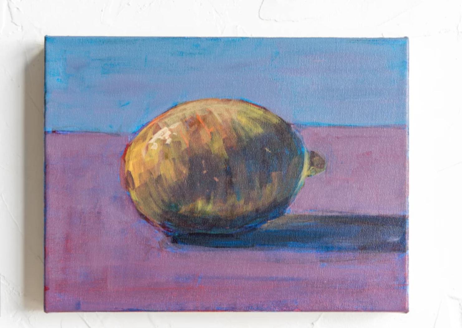 acrylic lemon still life on canvas