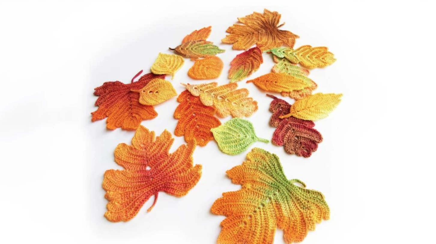 crochet applique autumn leaves
