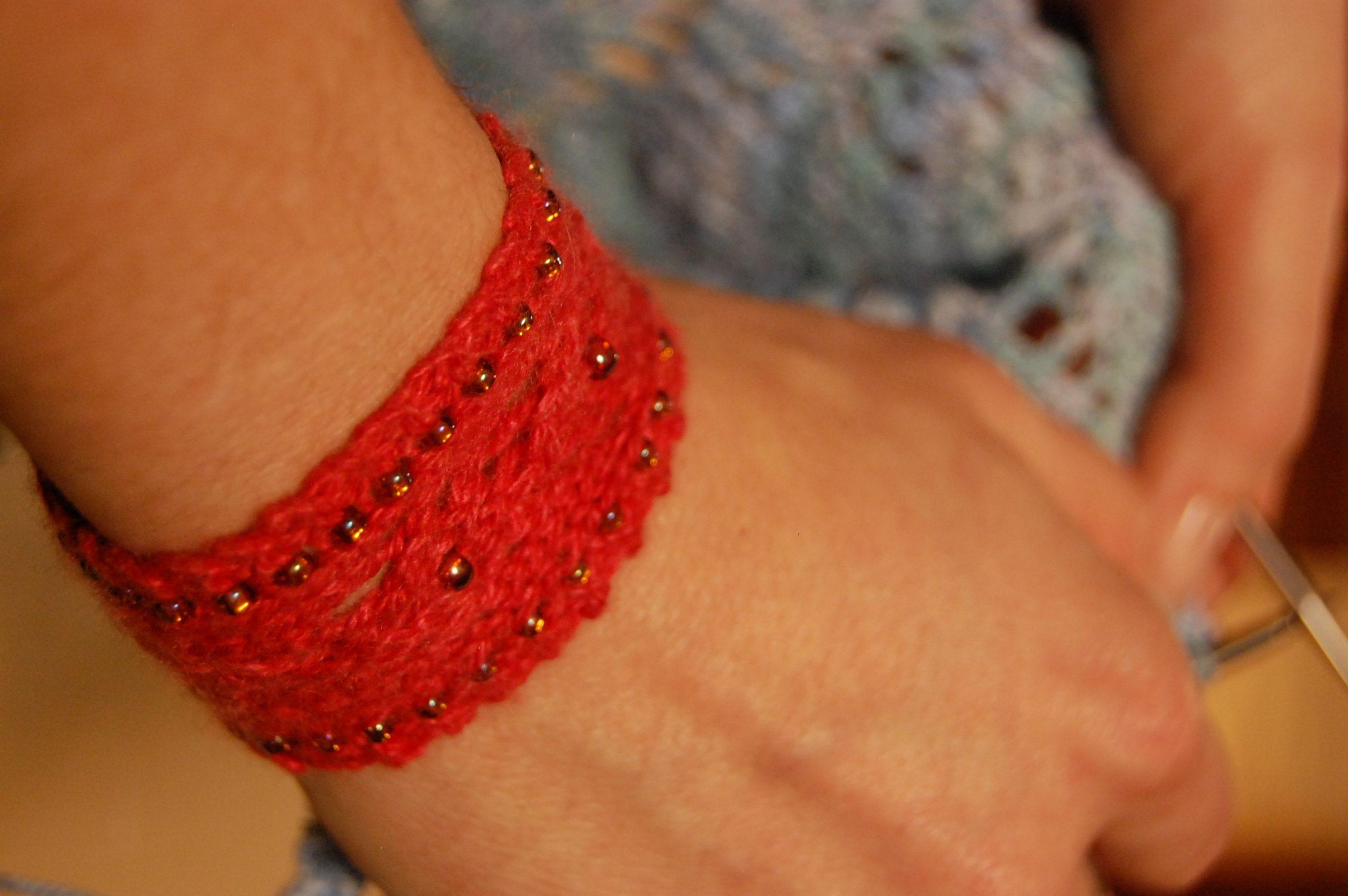 Red wrist cuff