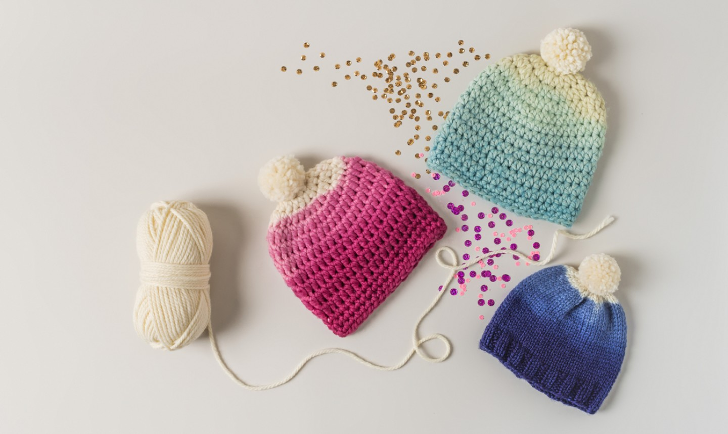 3 different color dyed hats