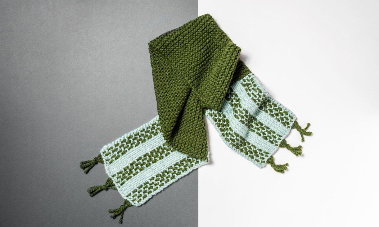 Green fringe scarf