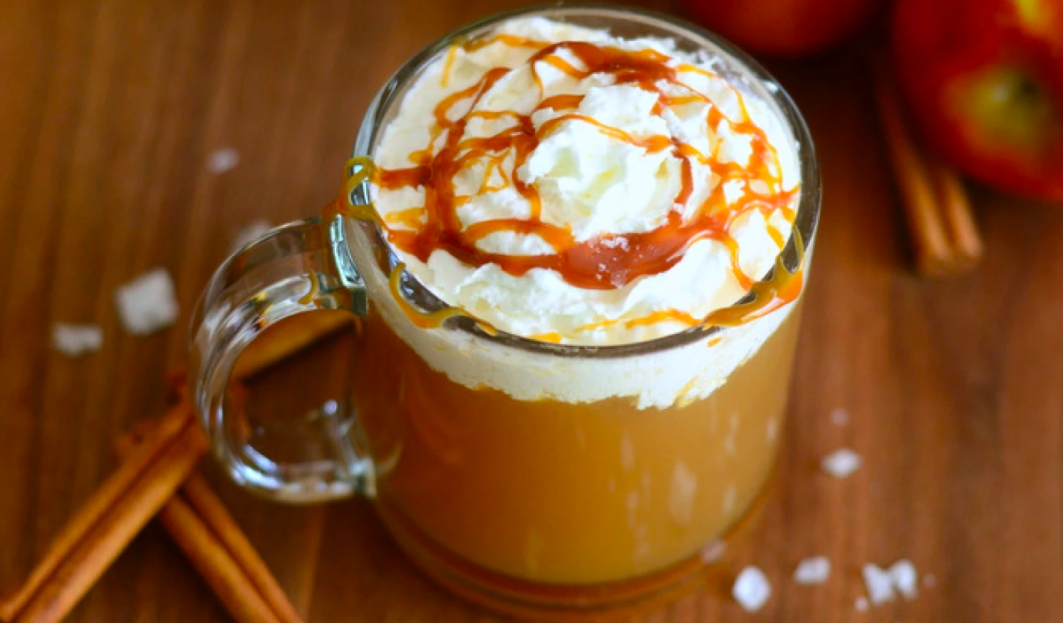 Warm drink with whipped cream