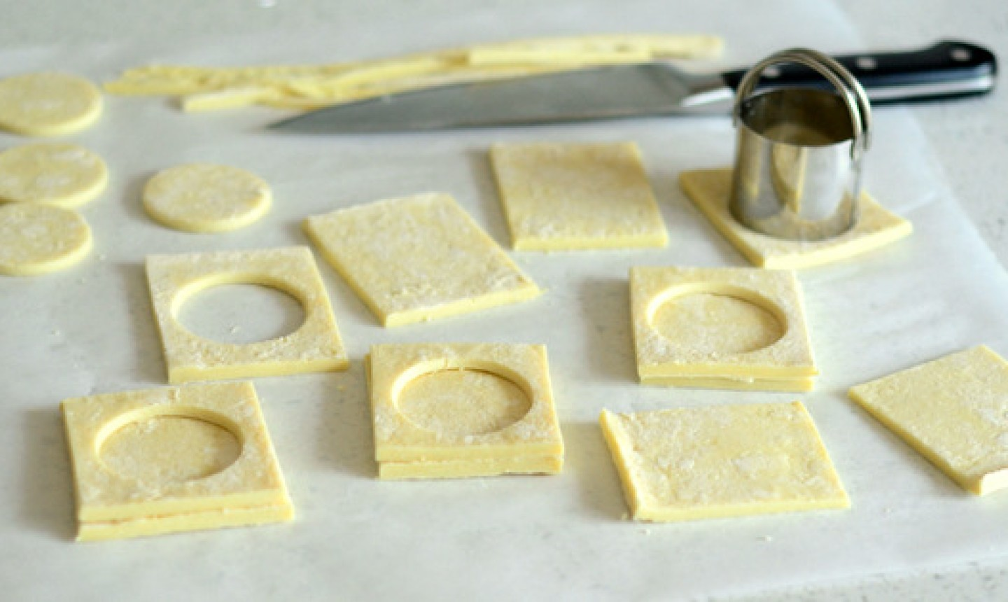 cutting puff pastry for french finger food