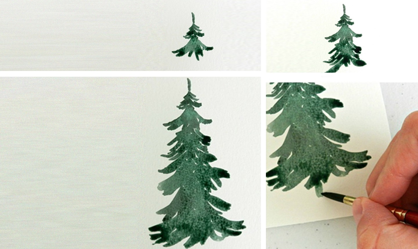painting watercolor pine tree