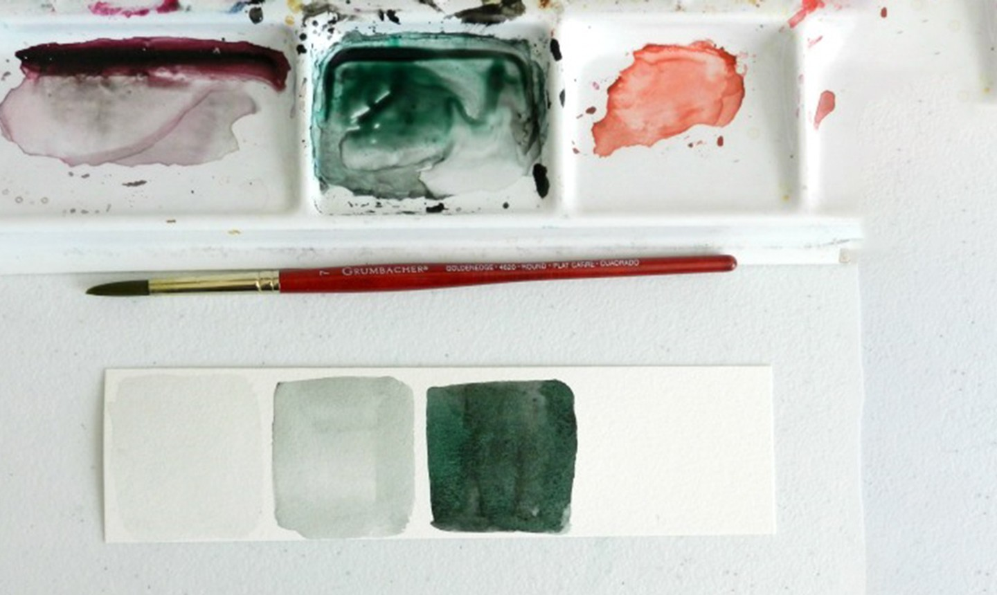 green watercolor value scale