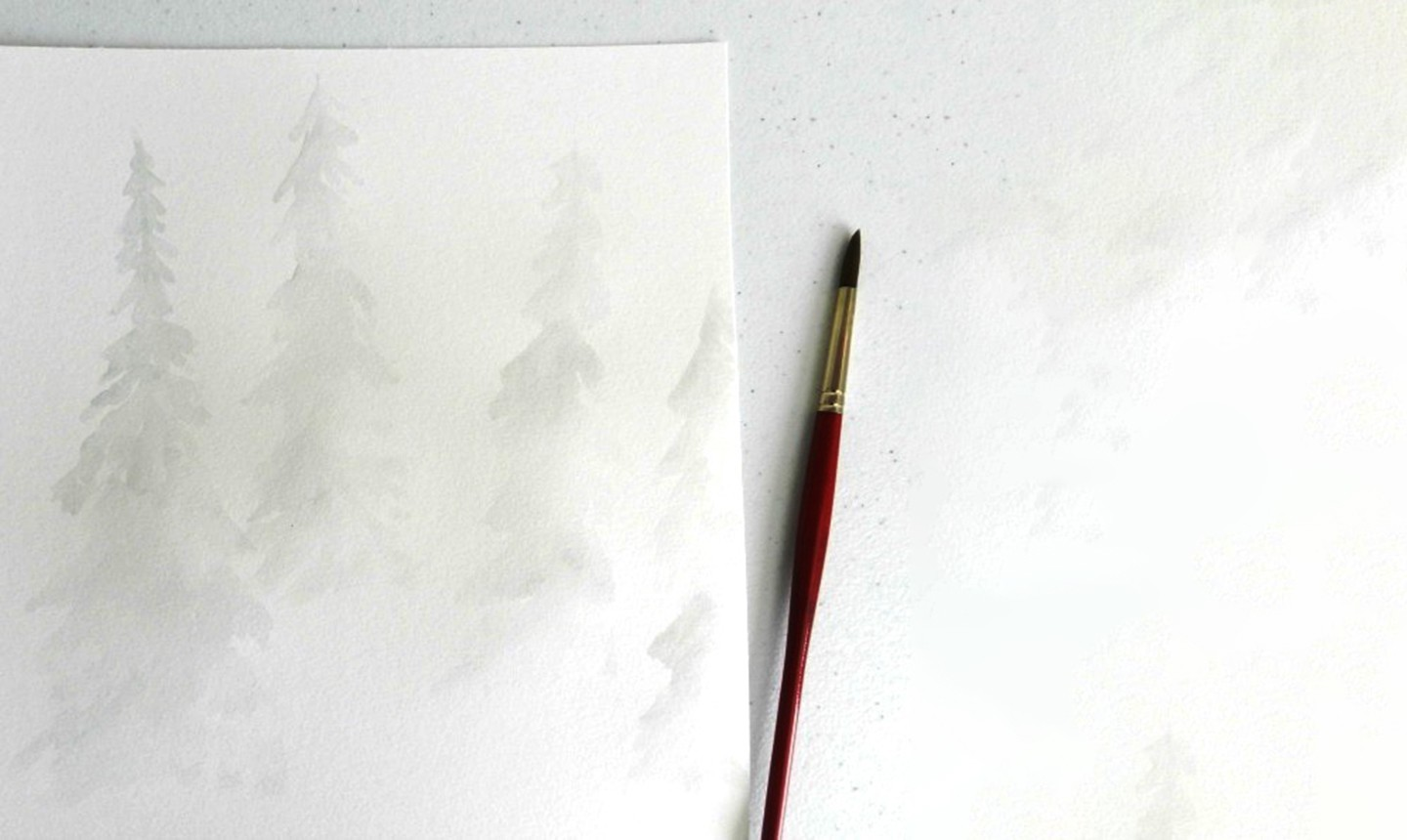 light pine tree watercolor wash
