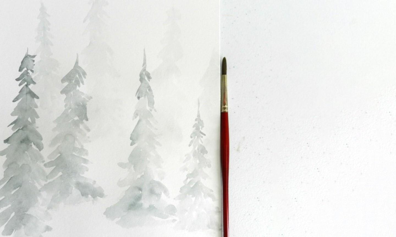 watercolor pine trees medium wash
