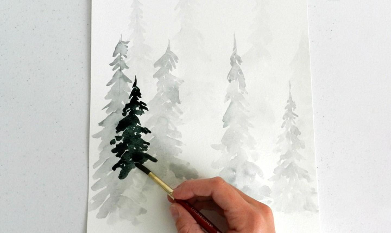 watercolor pine trees dark wash