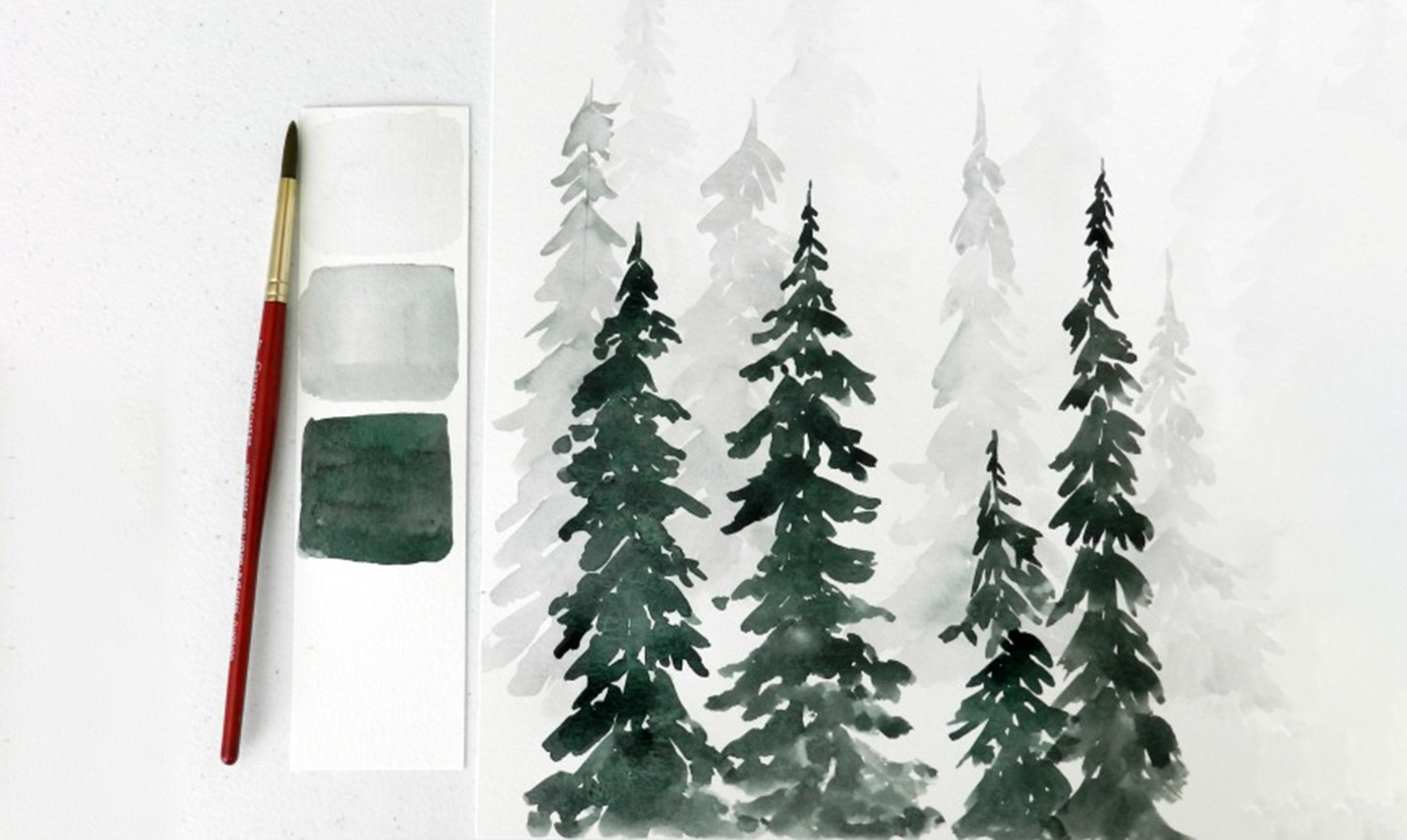 painted watercolor pine trees